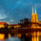 A cityscape cathedral, river Odra. Wroclaw, Poland, at dusk. Panorama.