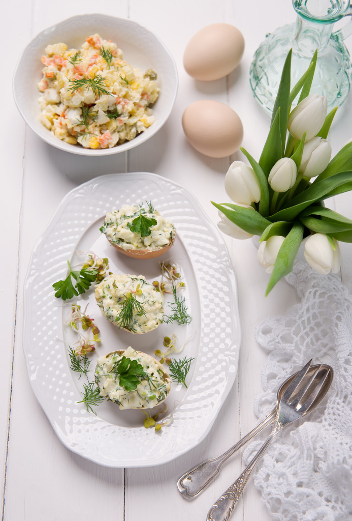 easter dishes,stuffed eggs and potato salad